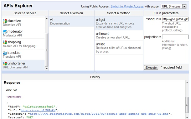 Google API Explorer screenshot
